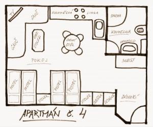 Apartmán 4: nákres